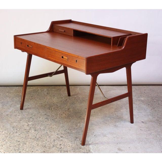 Teak and Brass 'Ladies' Desk by Arne Wahl Iversen - Image 3 of 13