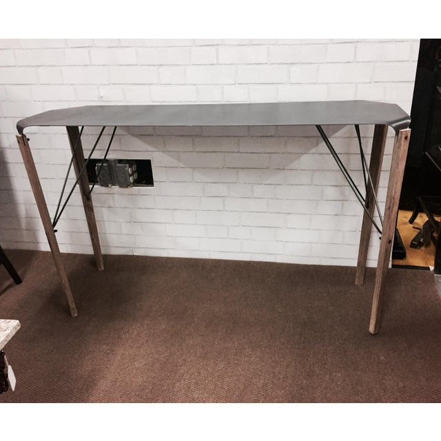 Industrial Hand-Crafted Steel & Fir Wood Console Table - Image 2 of 8