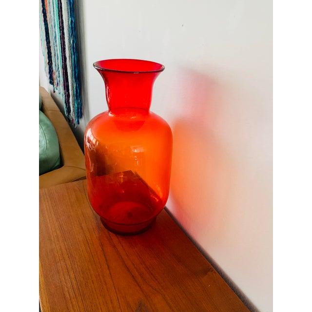 Blenko Tangerine Orange Floor Vase Scarce Oversized - # 7048 For Sale - Image 10 of 13