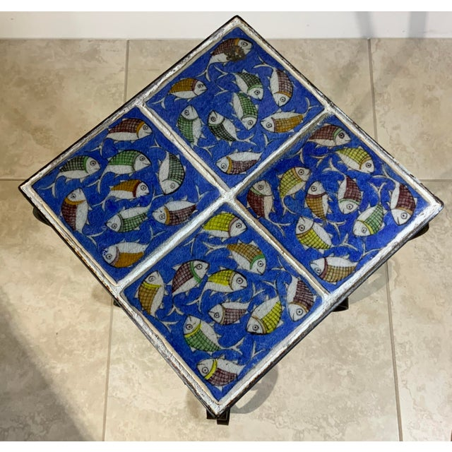 Vintage Persian Tile Side Table For Sale - Image 11 of 13