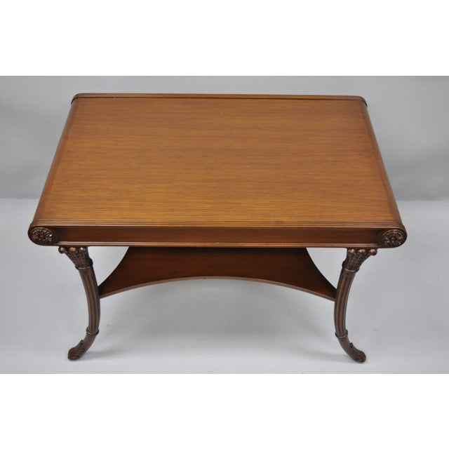 Nancy Corzine French Regency Style Mahogany Saber Leg Coffee Cocktail Table For Sale - Image 9 of 10