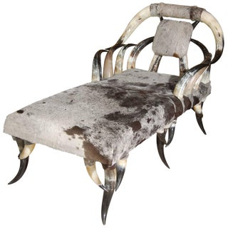 Horn & Cowhide Chaise Lounge For Sale