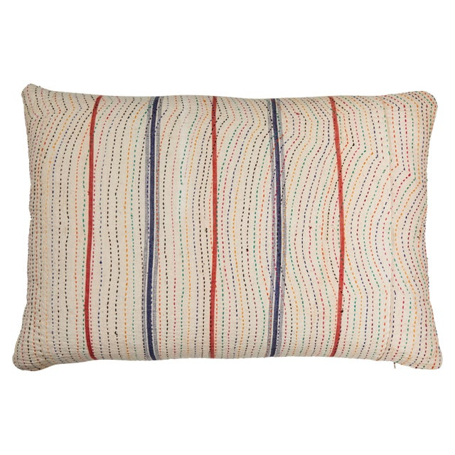 Late 20th Century Indian Kantha Stitched Pillow For Sale - Image 5 of 5