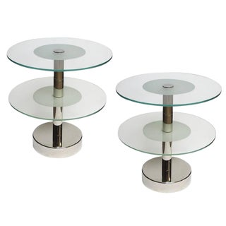 Art Deco Glass and Steel Side Tables in the Manner of Gio Ponti