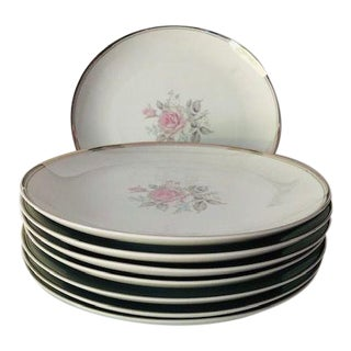 "Vintage Empress China Japan ""Rosetta"" Pattern Set of 8 Dinner Plates For Sale"