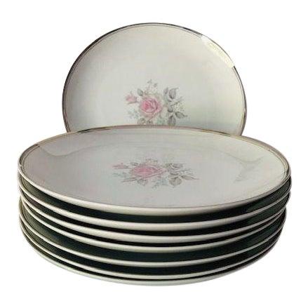"Vintage Empress China Japan ""Rosetta"" Pattern Set of 8 Dinner Plates For Sale"