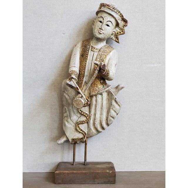 Vintage Thai Carved Wood Sculptural Statue For Sale - Image 13 of 13