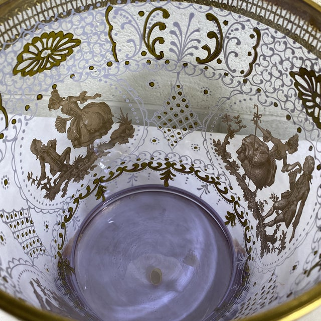 Metal Hand Painted Venetian Glass & Brass Ice Wine Bucket For Sale - Image 7 of 10