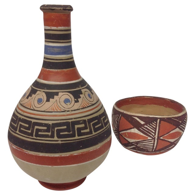 Mid-Century Native American Pottery Vase & Bowl - Image 1 of 5