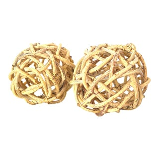 Vintage Natural Windsor Knot Balls in Dried Wisteria Stems Set of Two Handmade California - a Pair For Sale
