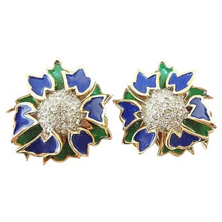 1960s Jomaz Pavé Rhinestone Enameled Earrings For Sale