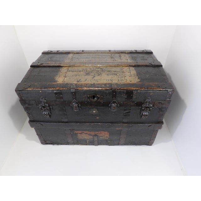 Late 19th Century Antique Crouch & Fitzgerald Coffee Table/Steamer Trunk For Sale - Image 11 of 11