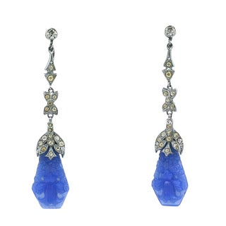 Art Deco Faux Carved Chalcedony Long Earrings For Sale