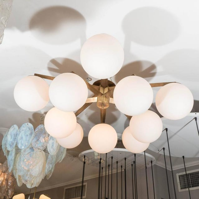 Venfield Custom Antique Brass Ten-Globe Ceiling Light For Sale - Image 4 of 5
