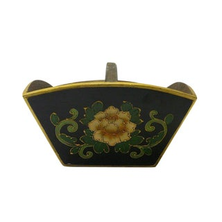 Traditional Chinese Black Flowers Wood Square Handle Rice Measure Bucket