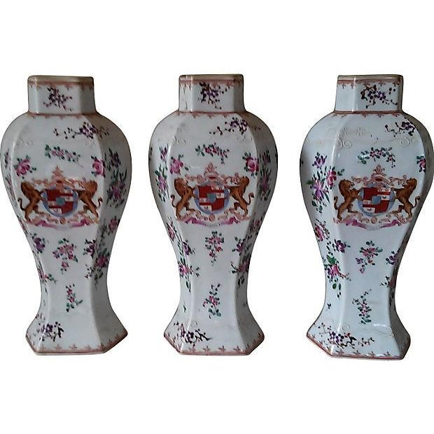 18th Century Antique Samson Armorial Vases - Set of 3 - Image 1 of 6