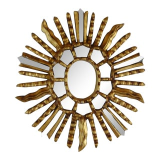 1960s Italian Giltwood Sunburst Mirror For Sale