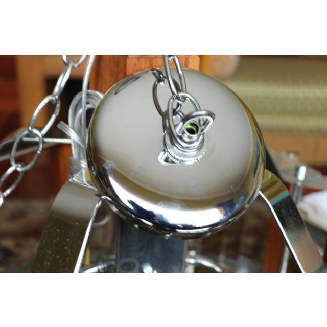 Fredrick Ramond Lighting Oak, Chrome and Glass Pendant Chandelier For Sale - Image 10 of 13