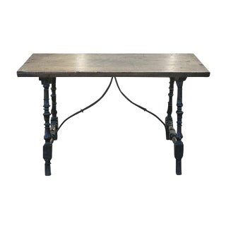18th Century Spanish Walnut Console Table With Iron Stretcher For Sale