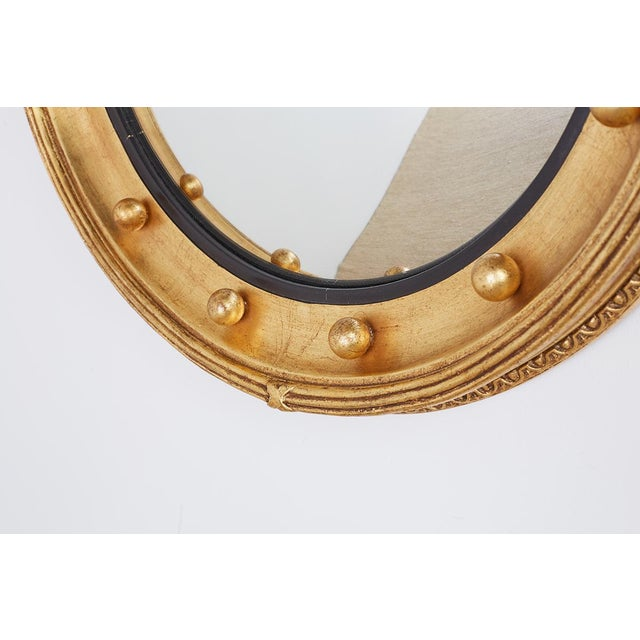 Late 20th Century English Regency Style Round Convex Bullseye Mirror For Sale - Image 5 of 12
