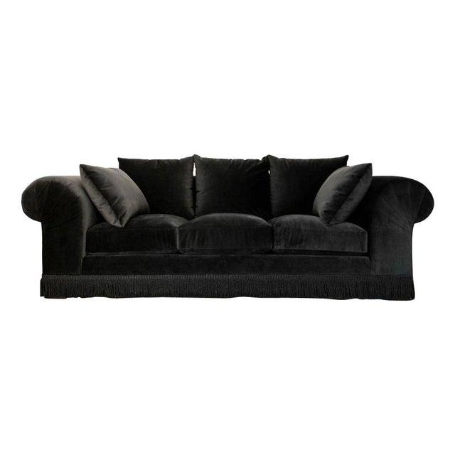 Black Velvet Roll Arm Sofa with Fringe For Sale