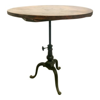 """27"""" Adjustable French Iron Base Bistro Table For Sale"""