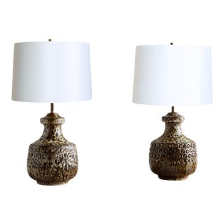 Pair of Italian Art Pottery Lamps by Alvino Bagni for Raymor For Sale