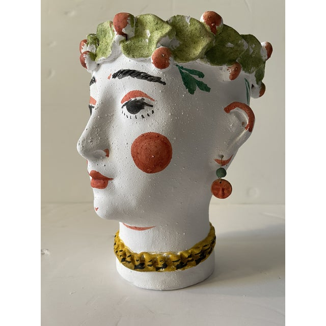 2020s Spanish Terra Cotta Face Pot For Sale - Image 5 of 7