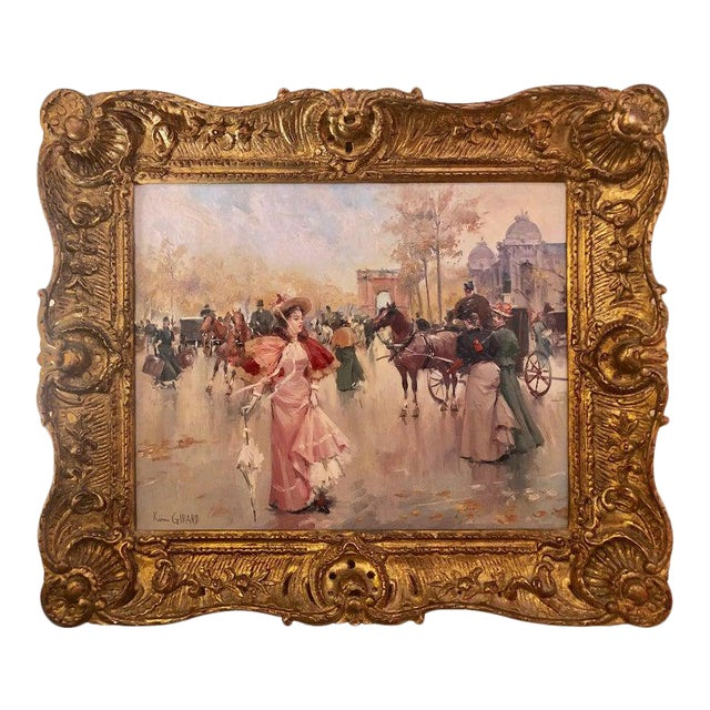 French Oil on Canvas by Karine Girard 'French 1965' or a Paris Street Scene For Sale
