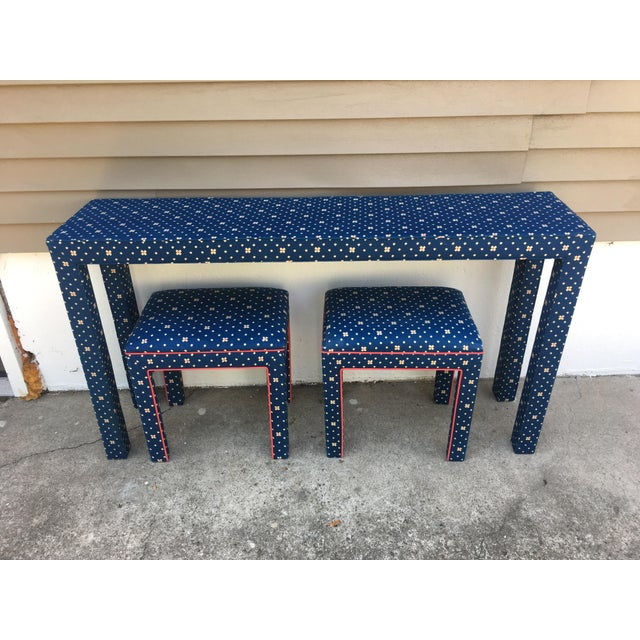 1970s Mediterranean Blue Upholstered Parsons Table With Matching Benches - 3 Pieces For Sale In New York - Image 6 of 12