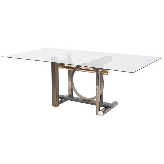 American Modern Chrome, Brass and Glass Dining Table, DIA For Sale - Image 10 of 10