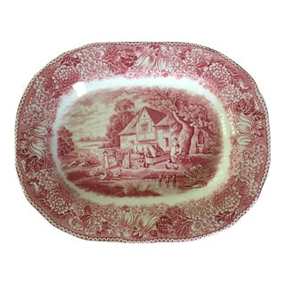 Adams English Countryside Red Transfer-Ware Ironstone Rural British Landscape Scene Oval Platter For Sale