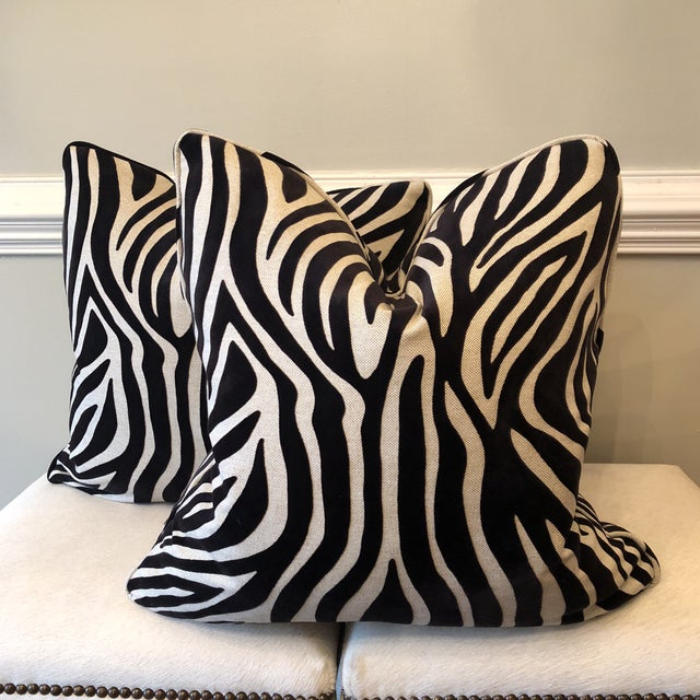 2010s Zebra Velvet on Linen Pillows - A Pair For Sale - Image 5 of 5