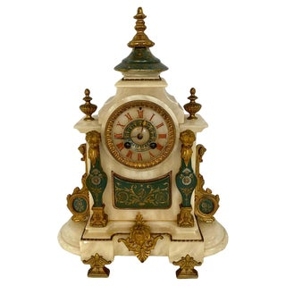 .French Alabaster and Bronze Mantel Clock Signed Brevetes For Sale