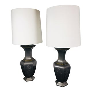 Asian Style Zinc Table Lamps - a Pair For Sale