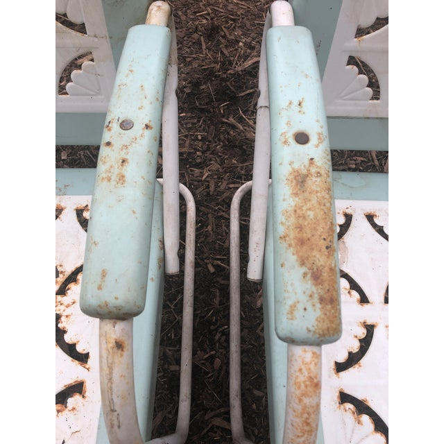 Turquoise Country Garden Arm Chairs in Light Turquoise and White - Set of 4 For Sale - Image 8 of 12