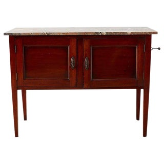 English Mahogany Marble-Top Cabinet or Console Table For Sale