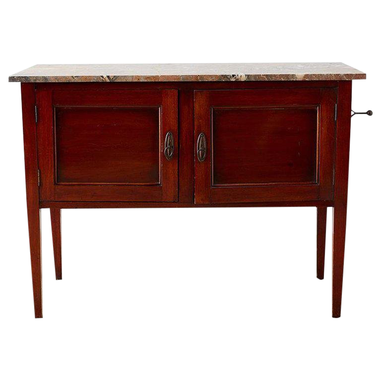 English Mahogany Marble Top Cabinet Or Console Table For Sale