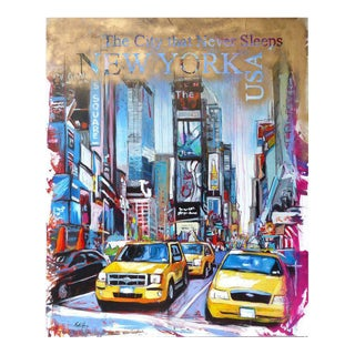 """Monumental Painting """"New York, Times Square"""" by Brazilian Artist Fabio Nery"""