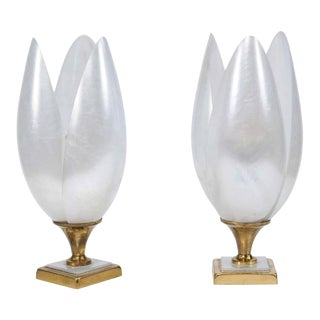 Pair of 1970s Maison Rougier Three-Petal Flowers Table Lamps of White Color For Sale
