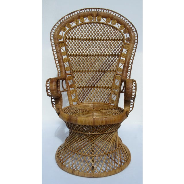 Anglo-Indian Final Markdown: C1970s Vintage Bohemian Eclectic Boho Chic Rattan Raw Wicker Peacock Chair For Sale - Image 3 of 13