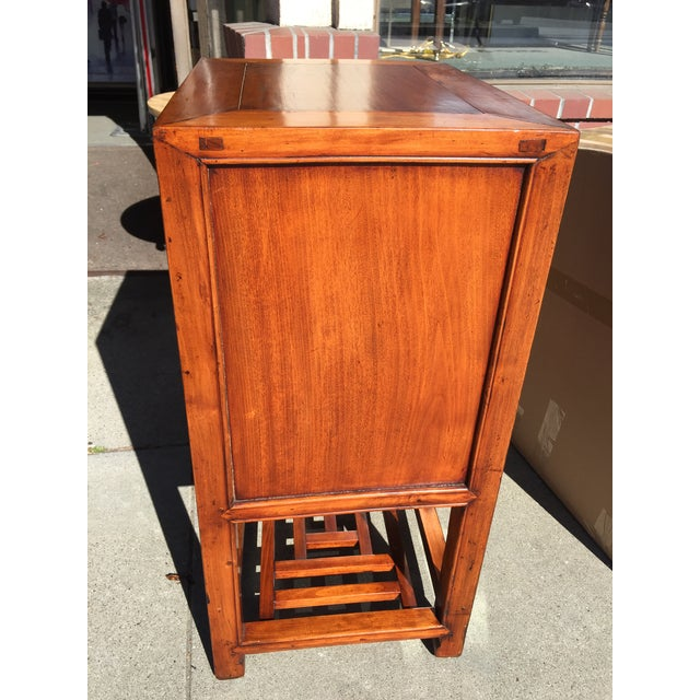 Asian Chinese Elm Wood Cabinet with Shelf For Sale - Image 3 of 6