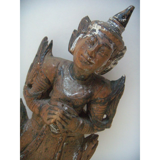Antique Wooden Thai Temple Figure - Image 5 of 9