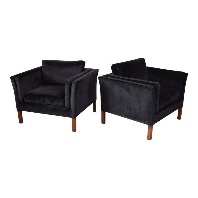 Pair of Danish Mogens Hansen Velvet Lounge Chairs - Image 1 of 10