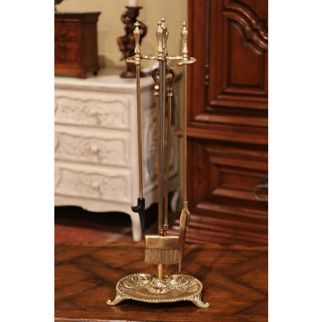 19th Century French Louis XV Bronze Fireplace Tool Set on Stand For Sale - Image 10 of 10