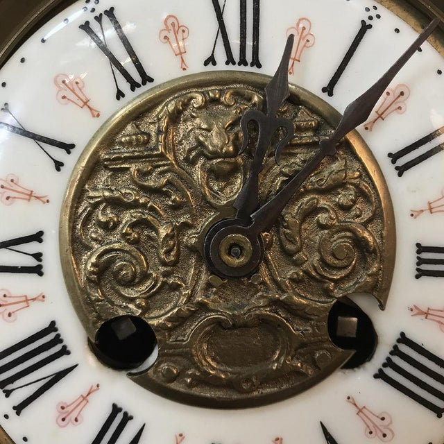 Metal Mantel Clock, 19th Century French Gothic in Bronze For Sale - Image 7 of 13