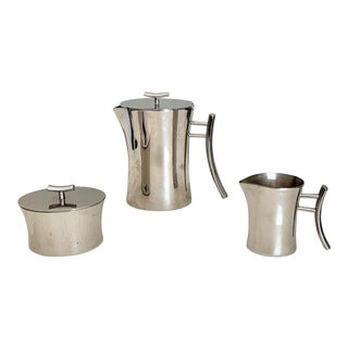 Sambonet Italy Bamboo Stainless Steel Coffee Set - 3 Piece Set For Sale