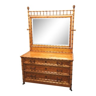 19th Century Aesthetic Movement Birds Eye Maple Faux Bamboo Dresser With Mirror For Sale