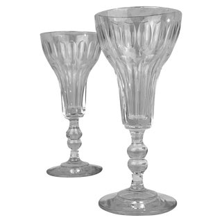 Pair of French Crystal Flutes For Sale