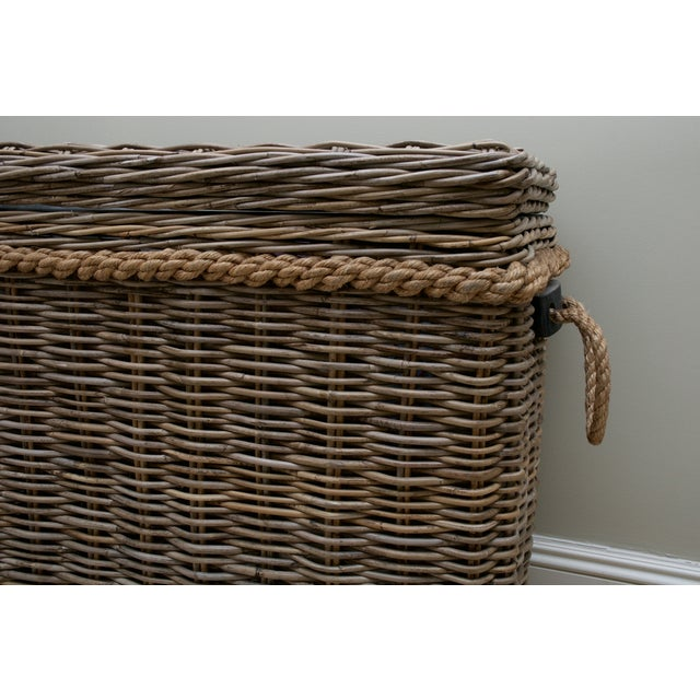 Driftwood Gray Rattan Wicker Blanket Storage Chest - Image 4 of 5